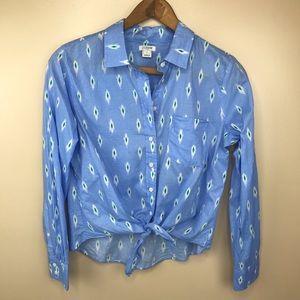 J. Crew Peri Ikat Tie Front Button Down Shirt S